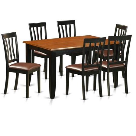 Faux Leather Dining Room Table Set - Table & 6 Solid Chair, Black & Cherry - 7 Piece