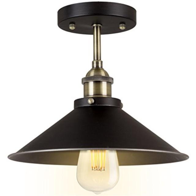"Kira Home Indie 10"" Industrial Semi Flush Mount Ceiling Light, Brushed Black Finish"