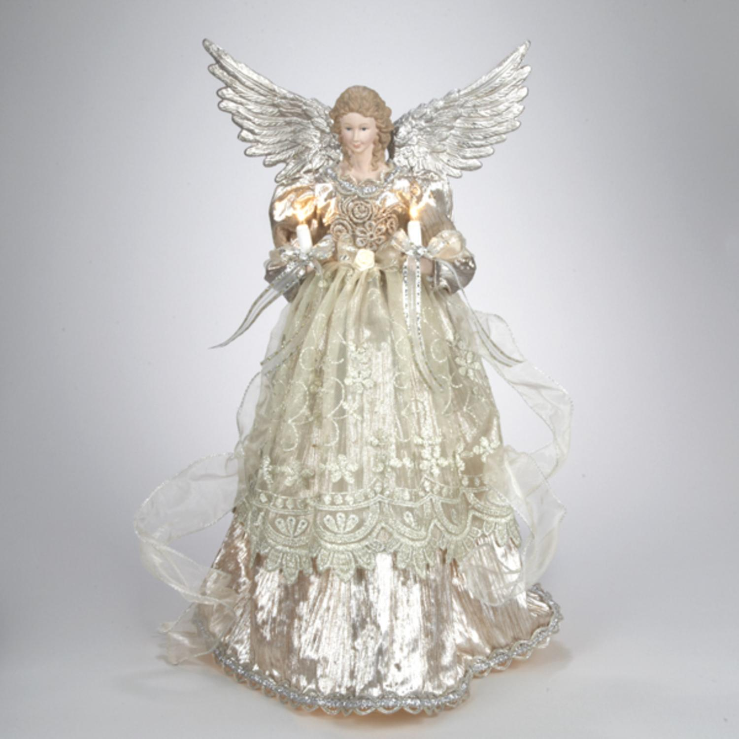 16 lighted gold and platinum angel christmas tree topper clear