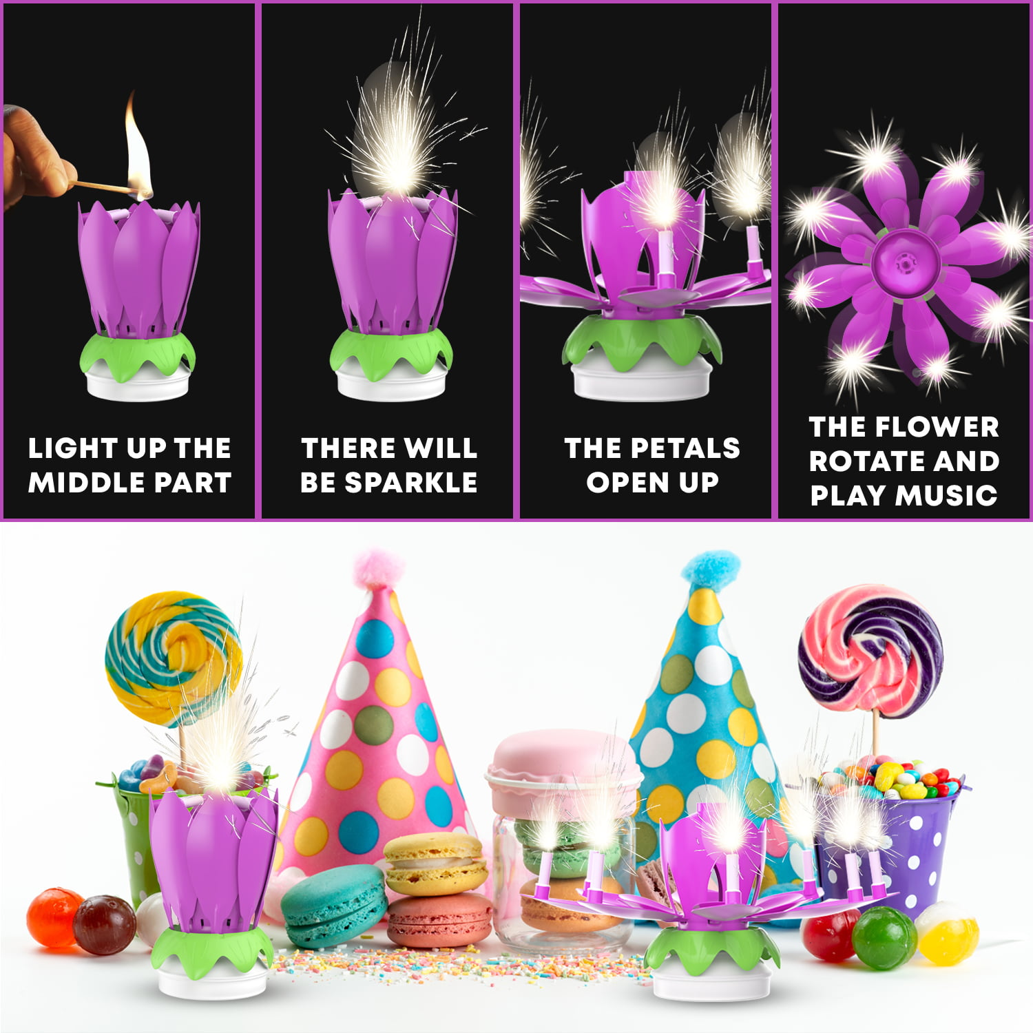 Rotating Musical Flower Birthday Candle Multiple Colors Walmart Com Walmart Com
