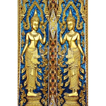 Siamese Art Texture Carved on the Temple Door in Shape of Angel in Buddhism Believe. Print Wall Art By Narinthorn