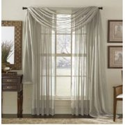 "TWO PANELS 55 WIDE X 95"" LENGTH GRAY SILVER 2 Piece Solid SHEER PANEL with ROD POCKET - Window Curtain Treatment 95"" LENGTH, By MONAGIFTS"
