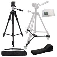 "75"" Professional Heavy Duty 3-Way Pan Head Tripod + HEAVY DUTY PORTABLE TRIPOD DOLLY INCLUDING CARRYING CASES FOR EACH For Canon 5D Mark III, 5D Mark II, 6D, 70D, SL1, 60D, 7D, 7D Mark II, T6s, T"