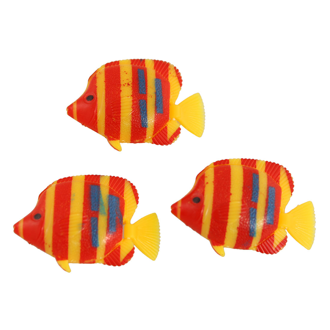 Unique Bargains 3 Pcs Red Yellow Plastic Fish Decor for Aquarium Tank