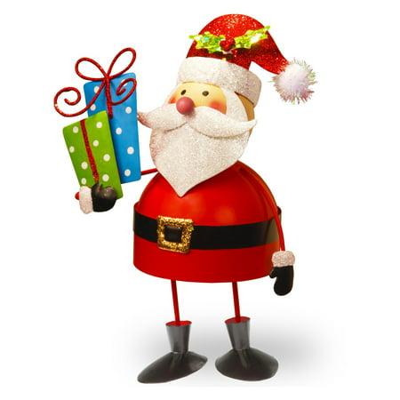 10   Metal Bobble Santa