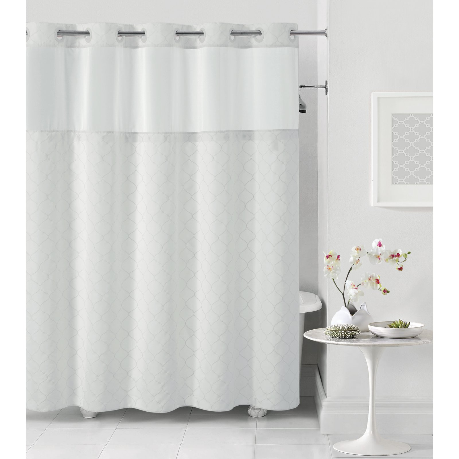 Hookless White Mosaic Polyester Shower Curtain by Hookless
