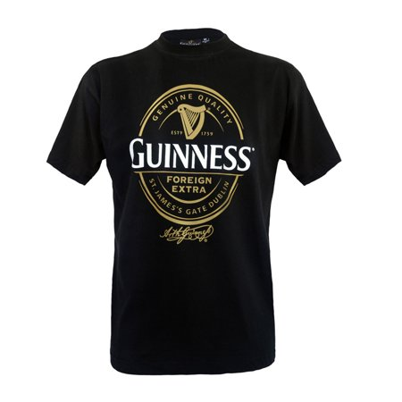 Guinness Black T-Shirt with Foreign Extra Bottle Label Print