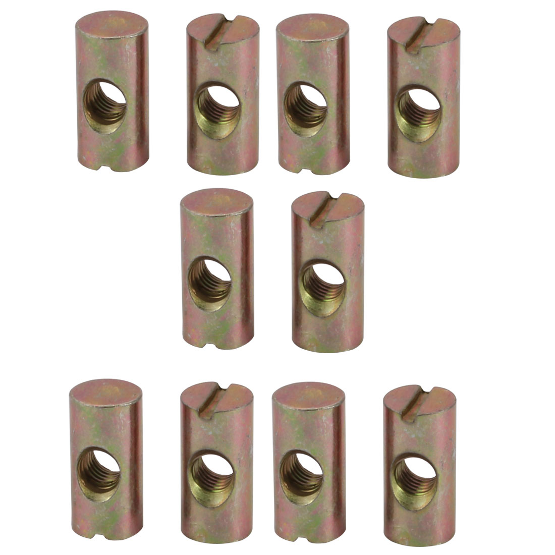 10pcs M6 Thread 20mm Height Zinc Plated Iron Slotted Drive Cross Dowel Nuts - image 3 of 3
