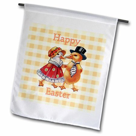 Couples To Dress Up As (3dRose Image of Happy Easter with Dress Up Chicken Couple Plaid Polyester 1'6'' x 1' Garden)