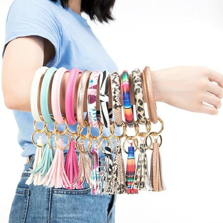 NK HOME Handmade Wristlet Round Key Ring Chain Leather/ Silicone Oversized Bracelet Bangle Keychain Holder Tassel for Women Girl Greek Key Leopard