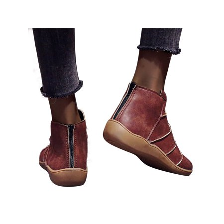 women soft leather flat heel booties zipper casual warmer