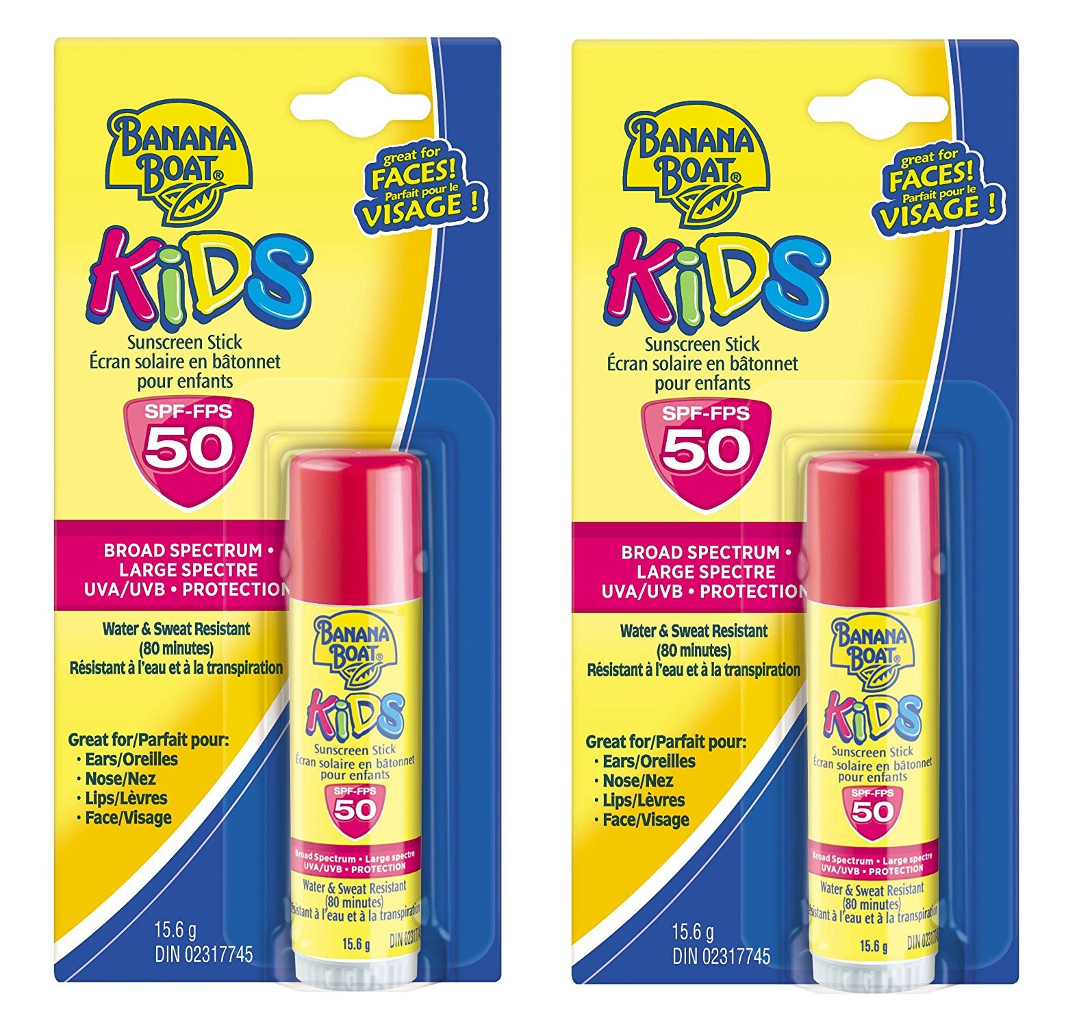 Banana Boat Kids UVA/UVB Protection Sunscreen Stick for Faces, Broad Spectrum SPF 50, 0.55 Oz (Pack of 2)