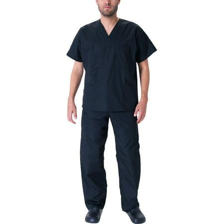 Extra Extra Small Scrubs (Natural Workwear Mens EDS Medical Dental Uniform - Premium Scrubs Set XXS - 3XL Black /)