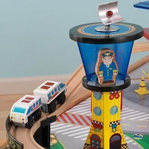 KidKraft Airport Express Wooden Play Kids Railway Train Activity Table U0026  Toy Set Image 6 Of