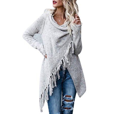 532f8ff37c4 Sexy Dance - Women Irregular Tassel Knitted Cardigan Sweater Baggy Poncho  Shawl Coat Jacket Outwear Winter Knitwear Knit Pullover - Walmart.com
