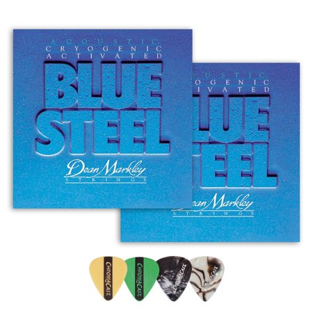 Dean Markley 2038 Blue Steel Medium Gauge Acoustic Guitar String(.013-.056) 2 Pack, with ChromaCast 4 Pick (Dean Markley Sr2000 Bass)