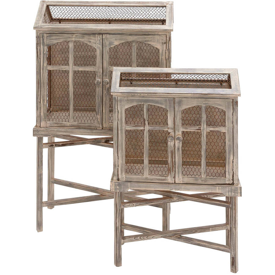 Decmode Wood and Metal Bird Cage, Set of 2, Multi Color by DecMode