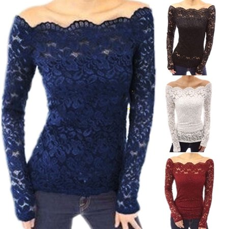4 Colors Autumn Blusas Sexy Women Off Shoulder Slash Neck Lace Crochet Shirts Long Sleeve Slim Casual Tops