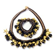 Wink International Handmade Onyx and Brass Beads Necklace and Bracelet Set (Thailand)