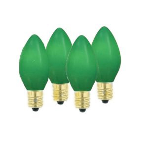 Pack of 4 Opaque Ceramic Green C9 Christmas Replacement Bulbs