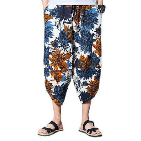 Men's Plue Size Wide Leg Floral Loose Boho Yoga Harem Pockets Pants (Harem Pants For Men)