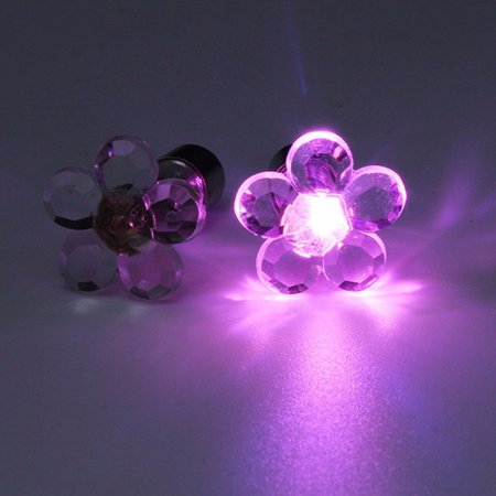2 PACK LED BRIGHT LIGHT UP EARRINGS HEART FLOWER