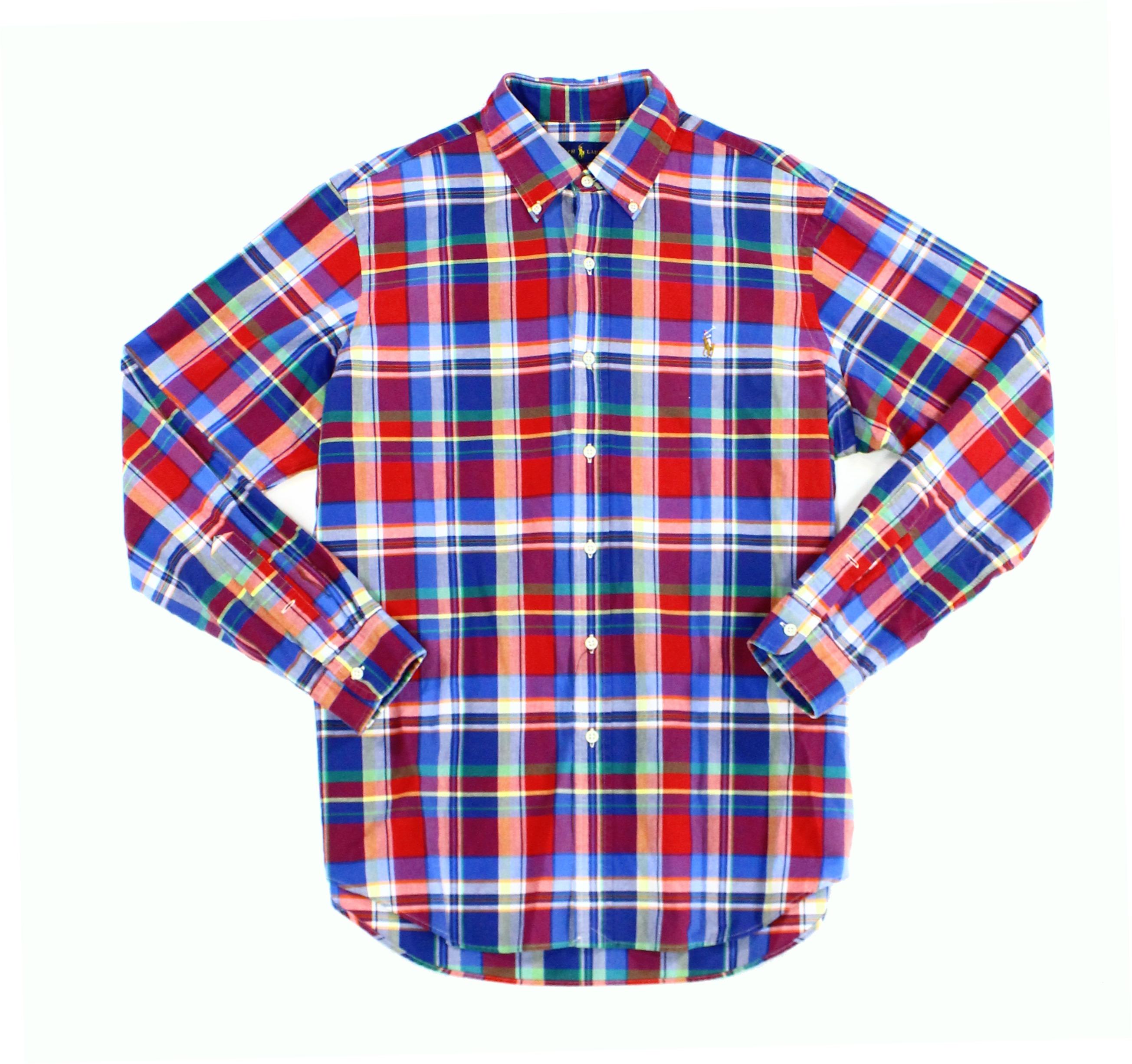NEW Red Blue Oxford Mens Size 2XL Button Down Plaid Shirt