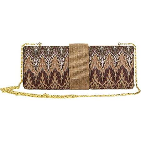 Aryana Rina3brn Sage Brown Multi Printed Chain Strap Clutch Style Womens Handbag