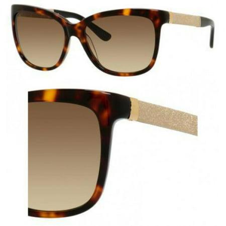 7fc55904cea Jimmy Choo - Jimmy Choo Cora S 0FA5 Dark Havana Gold Square Sunglasses -  Walmart.com