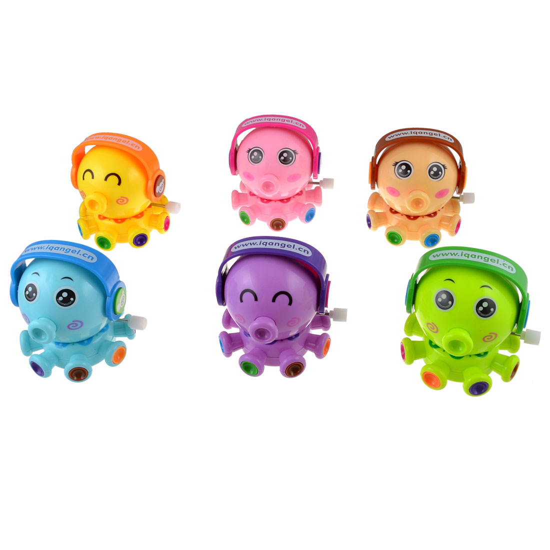6 Pcs Assorted Color Plastic Cartoon Octopus Wind Up Play Fun Toys for - image 1 de 1