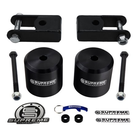 "Supreme Suspensions - F250 + F350 Lift Kit 3"" Solid Aircraft Billet Front Coil Spring Spacers + Shock Extenders (Black) Ford  Leveling Kit 4WD 4x4"
