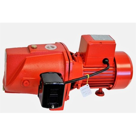 - Shallow Well Jet pump, 1/2HP, cast iron, 115/230V, w/pressure switch, max 12 gpm, head 30' in/105' out, 5.2/2.6A, self priming, heavy duty