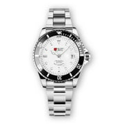 Military Automatic Watch Mens Stainless Steel Silver Case White Dial Black Bezel