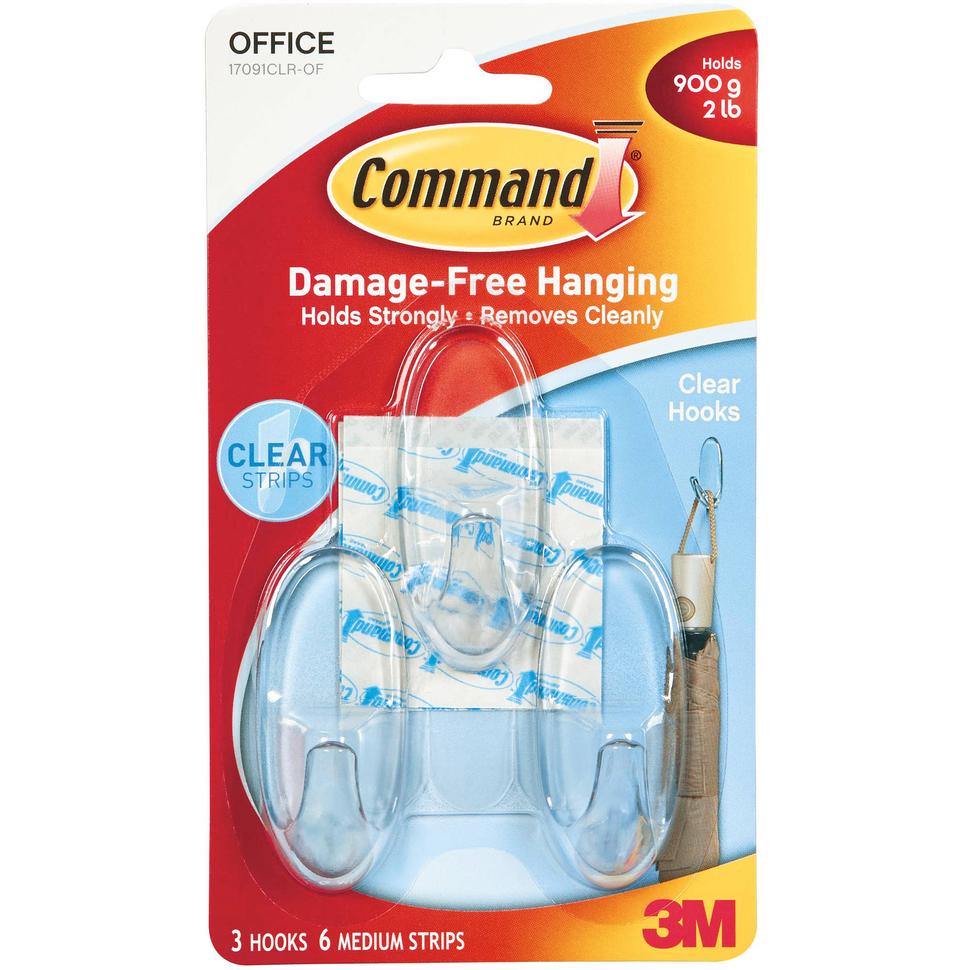 Command Clear Medium Hooks, 3 Hooks, 6 Strips, 17091CLR-OF