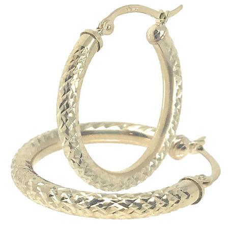 14k Real Yellow 100% Gold Hollow Diamond Cut Round Hoop Loop Earrings 1.1