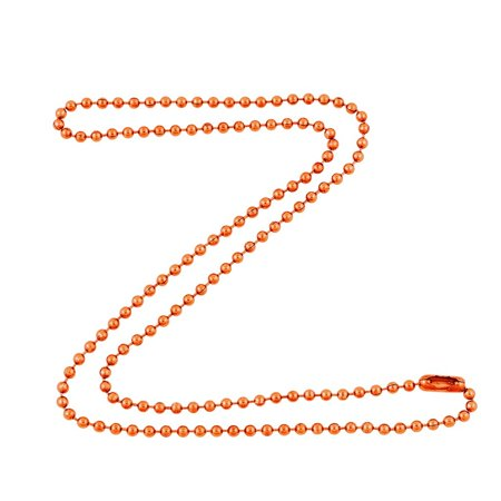 2.4mm Bright Copper Ball Chain Necklace with Extra Durable Color Protective Finish - 18 Inches