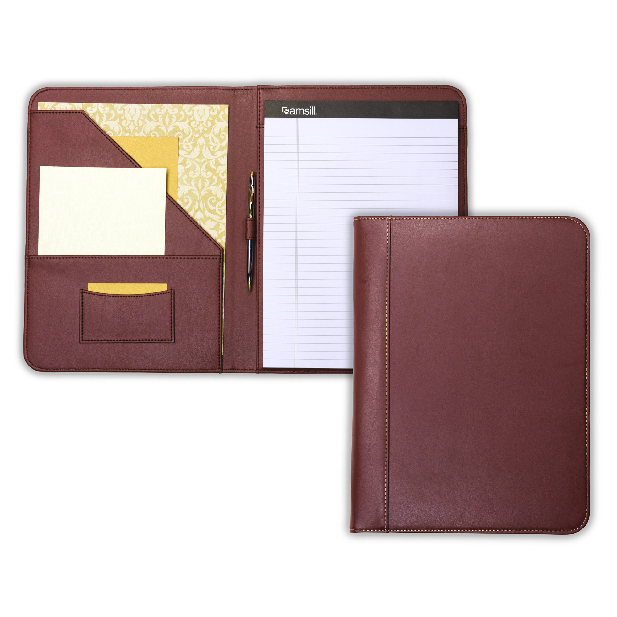 Samsill Contrast Stitch Leather Padfolio Lightweight Stylish