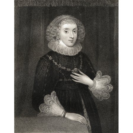 Mission Lodge Arts - Mary Herbert Countess Of Pembroke Nee Mary Sidney 1561-1621 English Patroness Of The Arts And Translator From The Book Lodge S British Portraits  Published London 1823 Stretched Canvas - Ken Welsh  D
