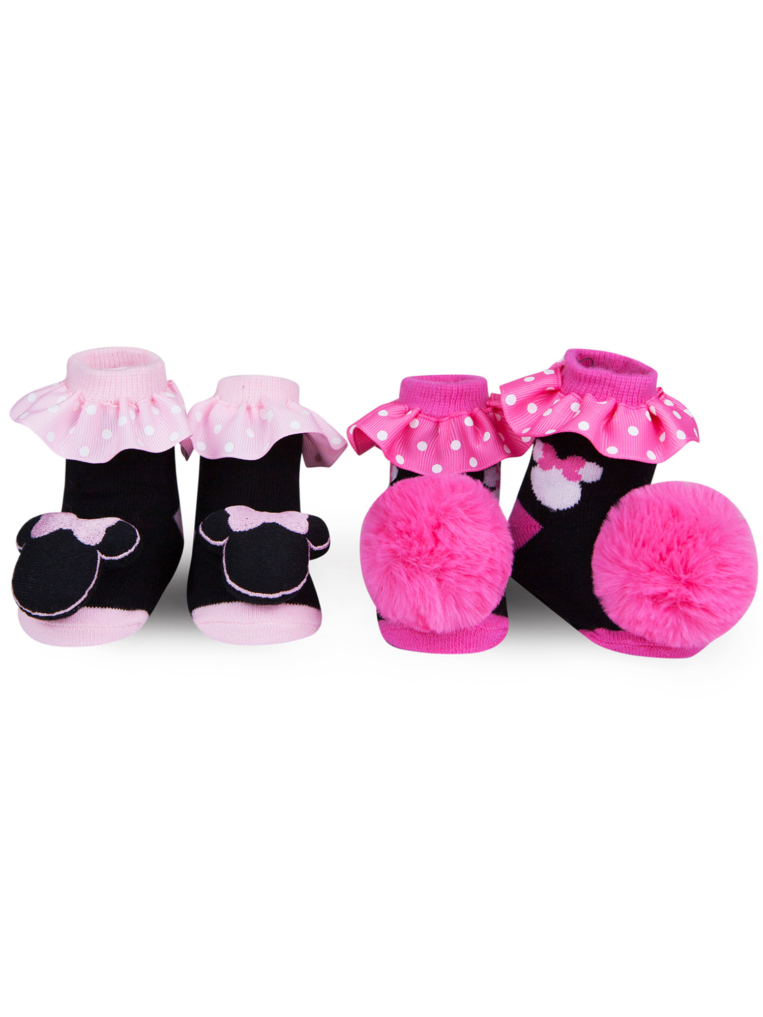 Disney Baby Minnie Mouse Ruffle Socks Newborn Pom Pom Foot Rattles 0-12 Months Pink