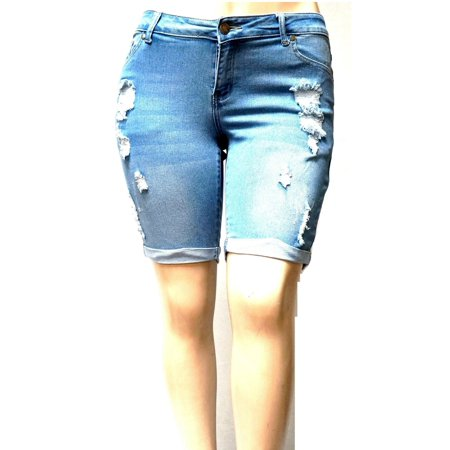 1826 Women's Plus Size Bermuda Short Curvy Denim Jean Ripped Distressed (Women Short Jeans)