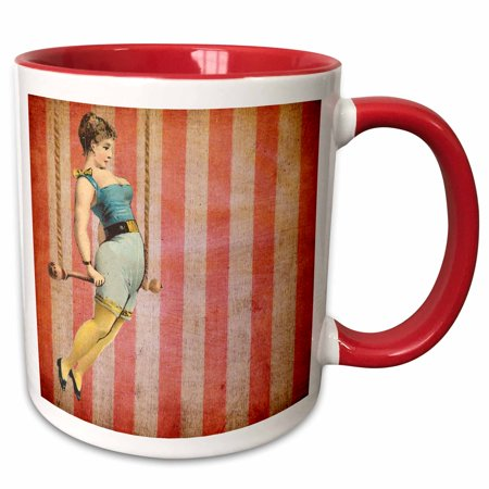 - 3dRose Vintage Trapeze Girl - Two Tone Red Mug, 11-ounce