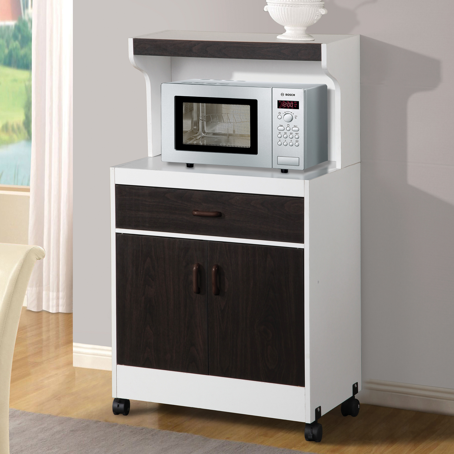 Charmant Home Source La Raine Microwave Kitchen Cart