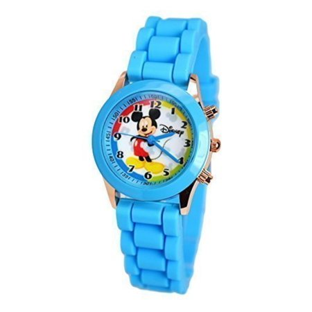 Mickey Mouse Wrist Watch - Disney Mickey Mouse Wrist Watch For Kids W/Fashion Buttons In Can Pen/Glasses Gift Box. Small Analog Display.