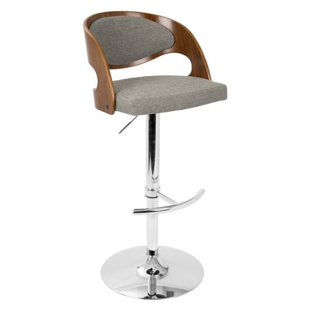 c6657417203c Pino Mid-Century Modern Adjustable Barstool with Swivel in Walnut and Grey  Fabric by LumiSource - Walmart.com
