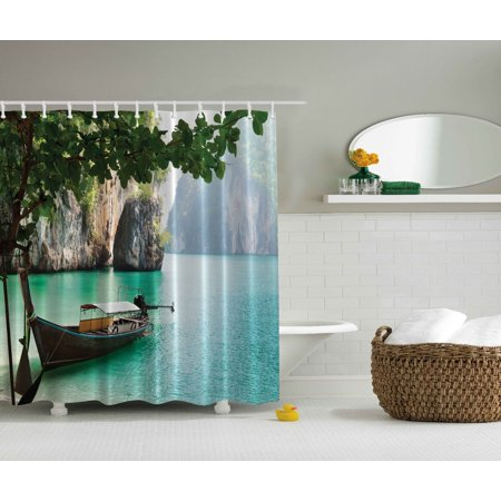 Abandoned Boat Sea Pictures Beach Exotic Design Nature Extra Long Shower Curtain
