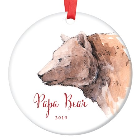 Papa Bear Ornament 2019, First Christmas as a Daddy, New Father Porcelain Ceramic Ornament, 3