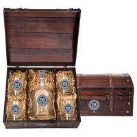 Coast Guard Capitol Decanter Chest Box | 5 Piece Set in Keepsake Wooden Gift Box | 1-24oz Glass Decanter | 4-14oz Double Old Fashion Glasses | Detailed Fine Pewter Medallion