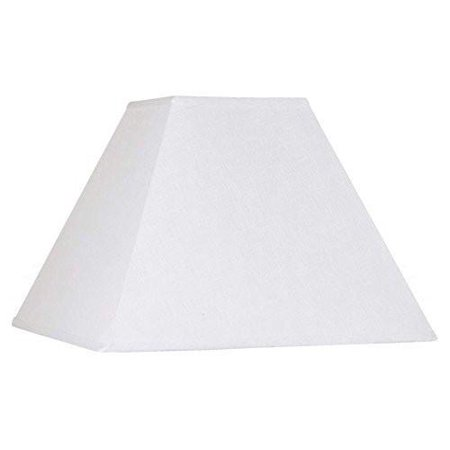 White Linen Six Inch Square Mission Style Nickel Clip On Chandelier Lampshade