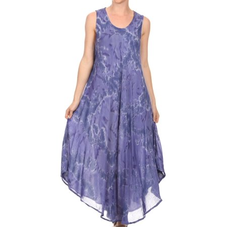 Sakkas Laeila Tie Dye Washed Tall Long Sleeveless Tank Top Caftan Dress / Cover Up - Dusty Blue - One Size Regular