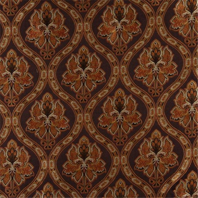 Designer Fabrics K0016B 54 in. Wide Brown, Gold, Persimmon And Ivory Embroidered, Traditional Brocade, Upholstery And Window Treatments Fabric